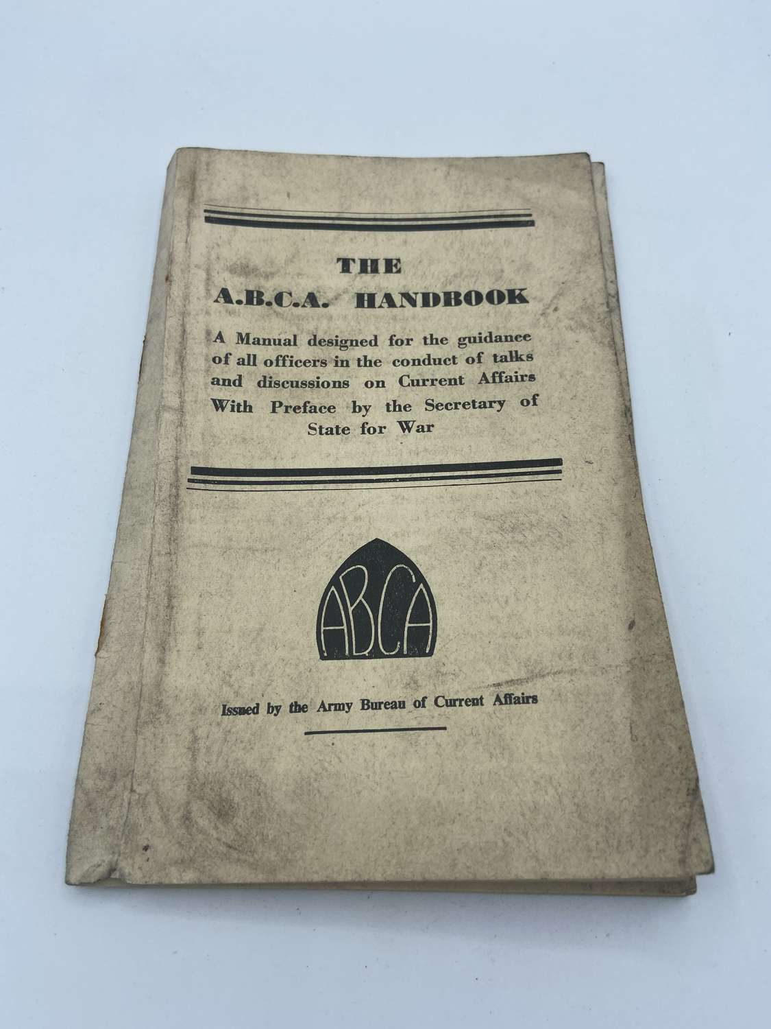WW2 1942 The ABCA Handbook OfficerGuidance Discussions Current Affairs