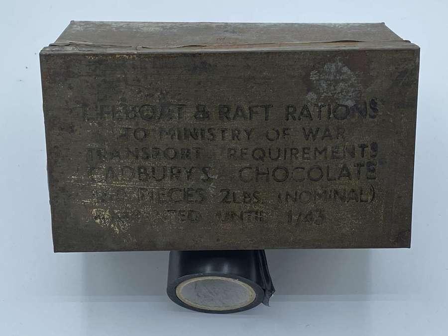 Rare WW2 1943 Ministry of War Transport HMCG Cadbury's Ration Tin