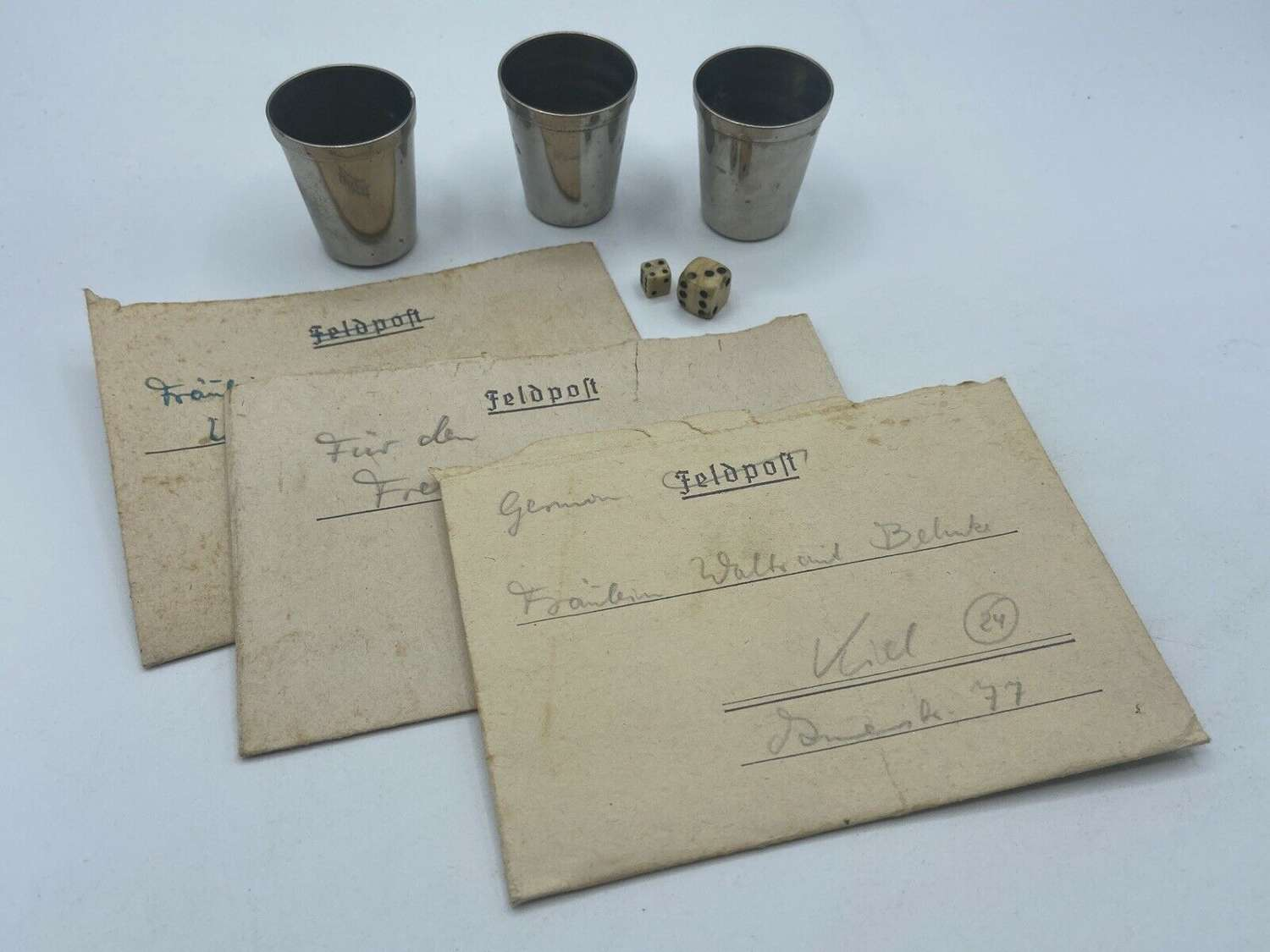 WW2 GermanPOW Prisoner Of War Carved Dice+Cups Game& Field Post Letter