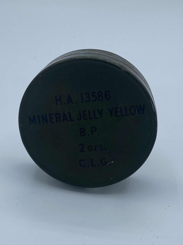 Rare WW2 British & US Army Mineral Jelly Yellow (Vaseiline) 2 Oz Tin &