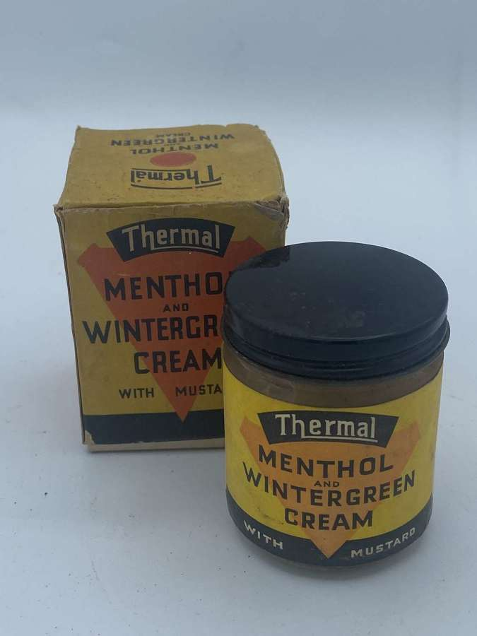 WW2 1930s Home Front Menthol&Wintercream thermal Packaging & Glass Jar