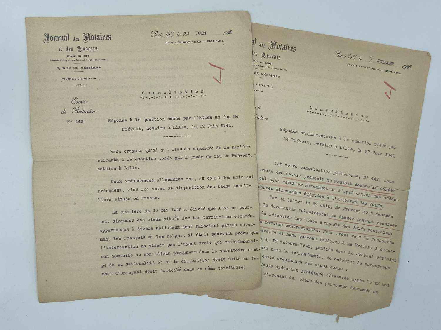 WW2 1940 French Tennant Agreement Banning Jews From Renting