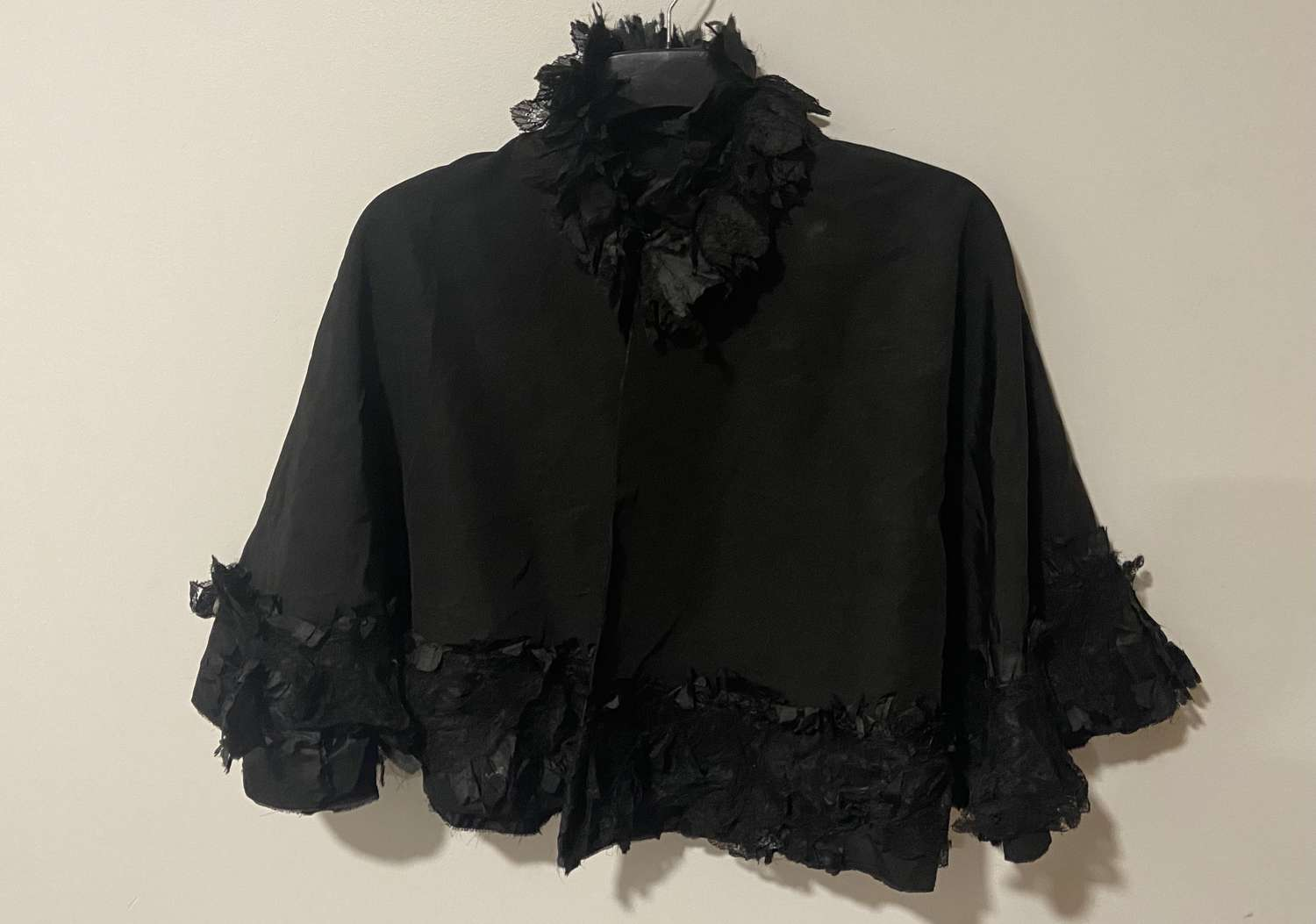 Antique Victorian 1850s Black Gothic Mourning Widowers Cape Dress