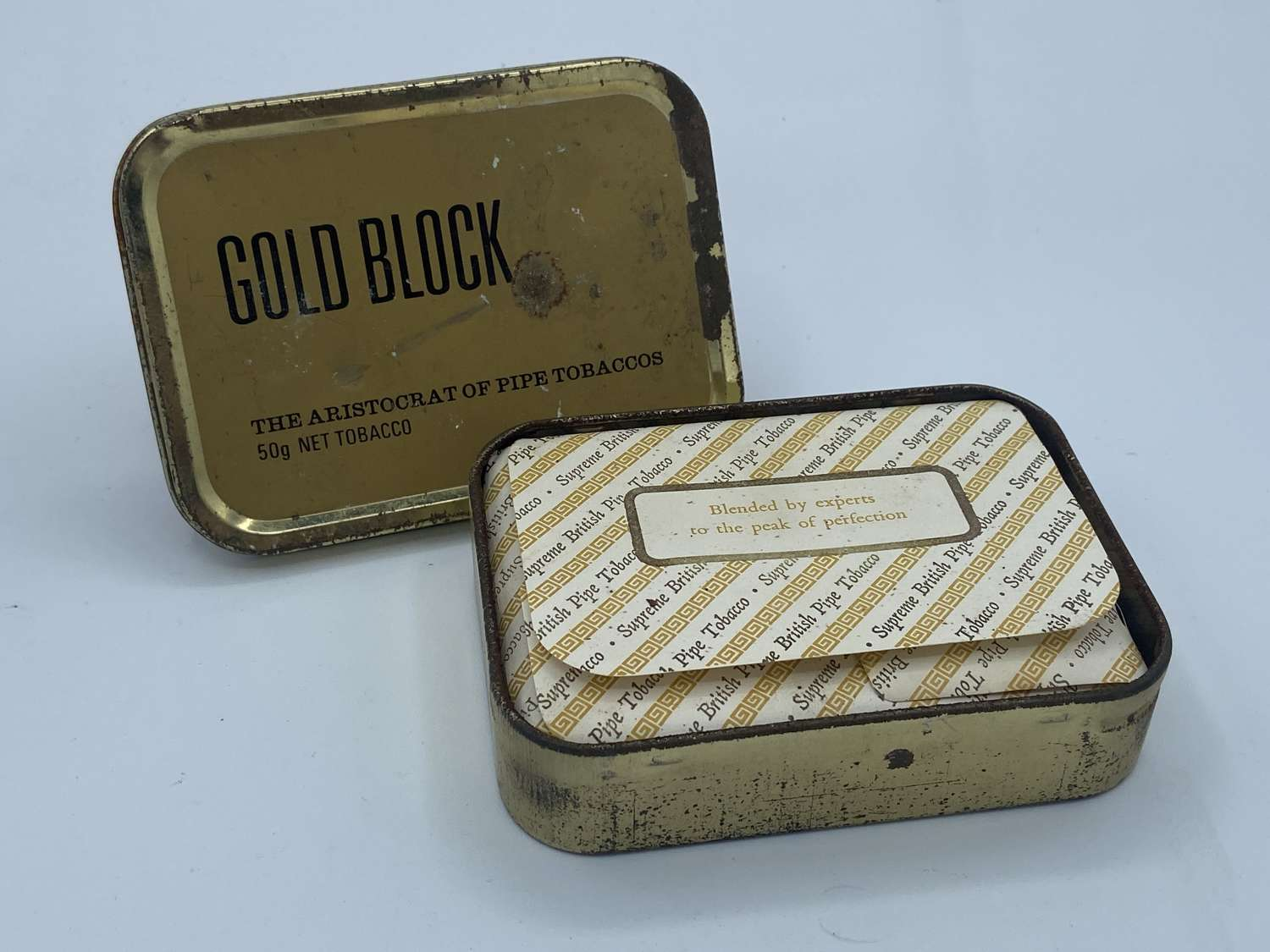 Vintage NAAFI Gold Block Tobacco Tin With Contents