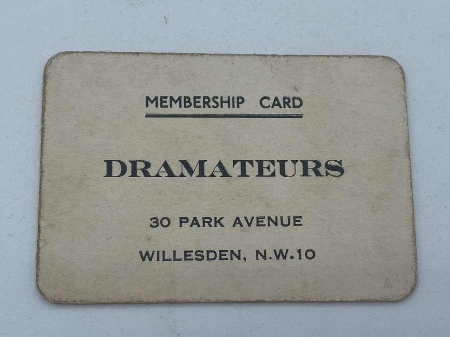 Antique Oddity Drama Acting Dramateurs Willesden Membership card
