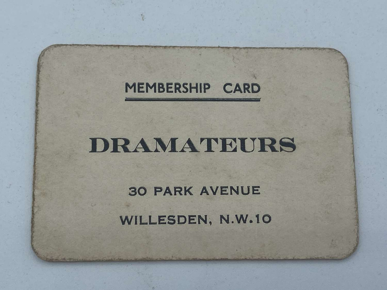 Antique Oddity Drama Acting Dramateurs Willesden Membership card