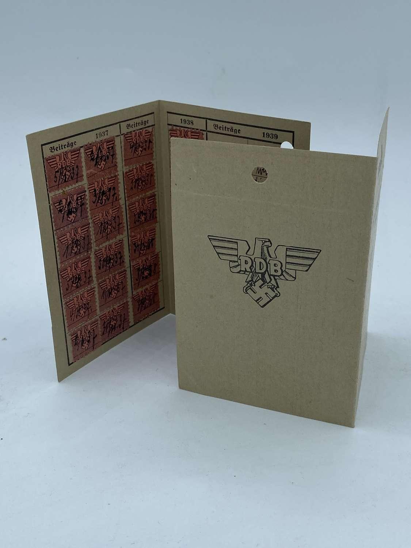 WW2 German Reichsbund Der Deutschen Beamten RDB Contribution Card