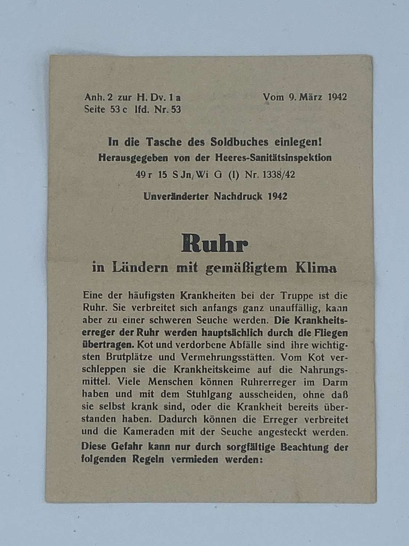 WW2 German Afrika Korps Army Medical Corps Warning Leaflet dysentery