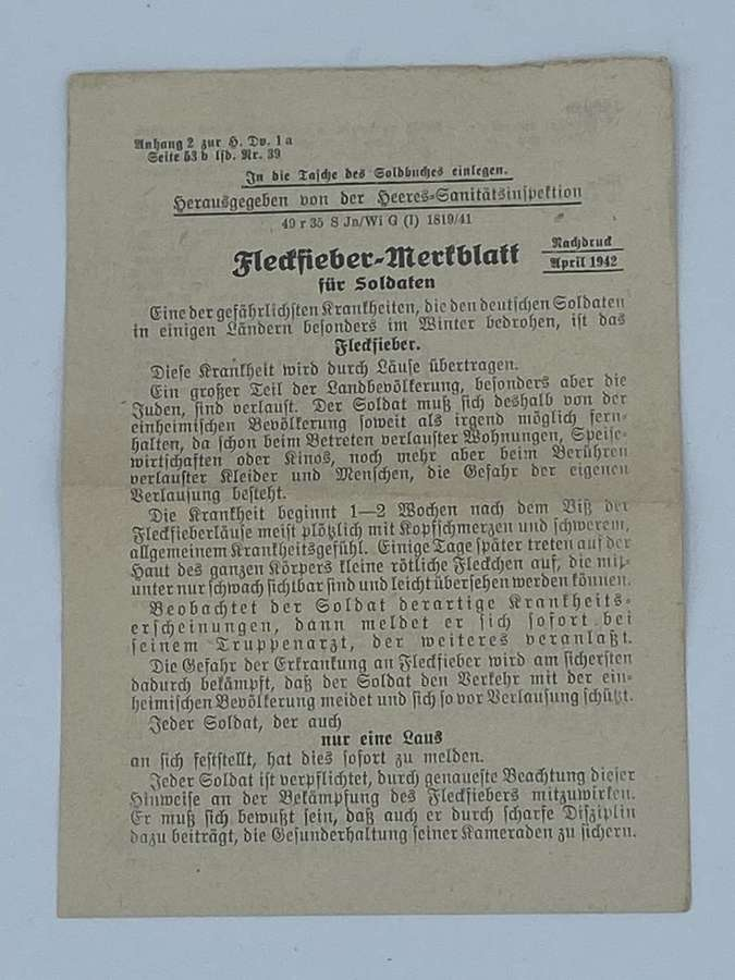 WW2 German Warning Leaflet For Typhus & Stay Away From Jews