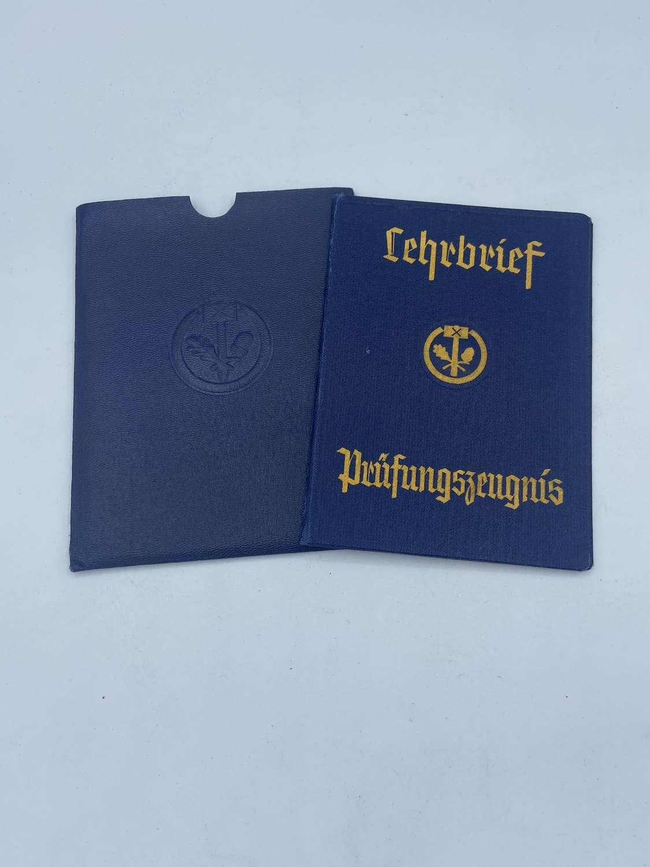 WW2 German Lehrbrief Prüfungszeugnis Letter Certificate