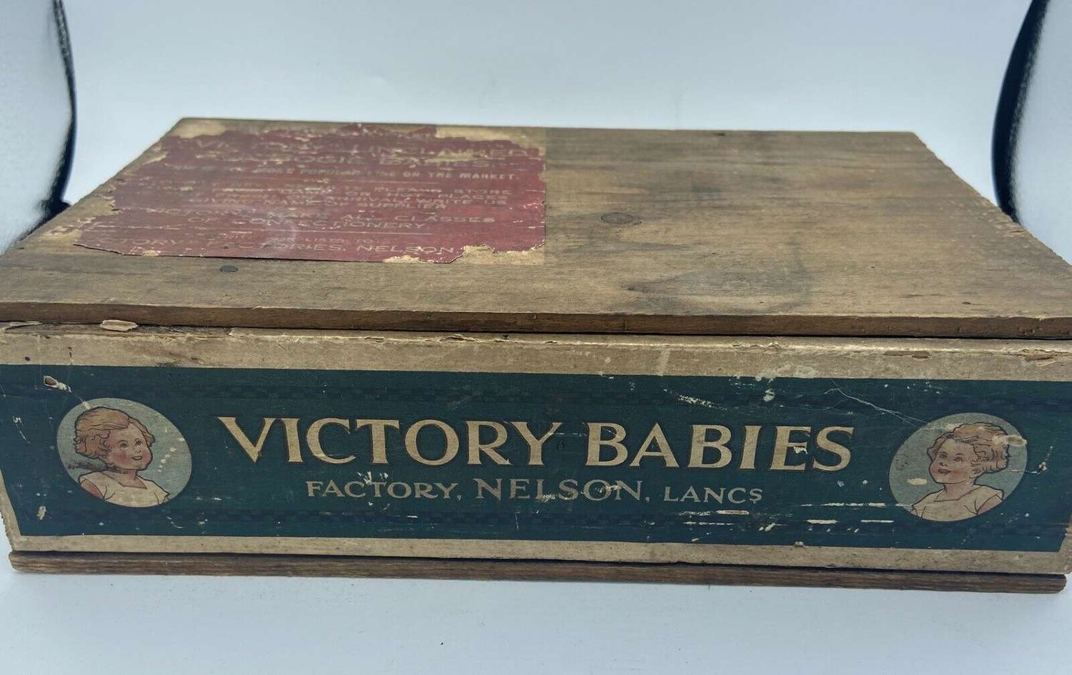 WW1 British Home Front Victory Jelly Babies Wooden Advertisement Box