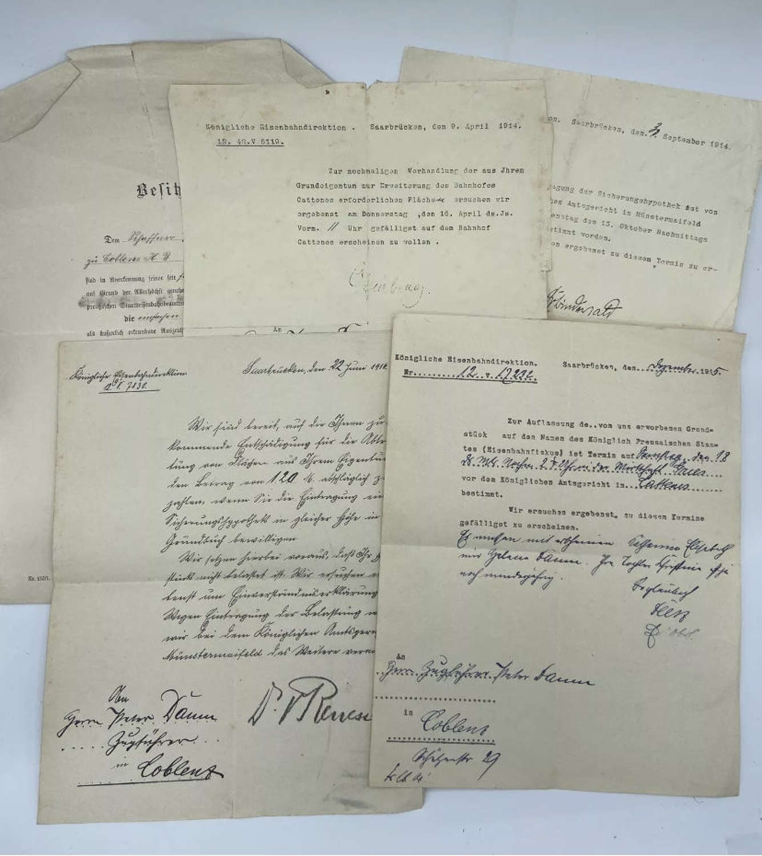 WW1 German Royal Directorate of Berlin Railways Gold Cord certificates