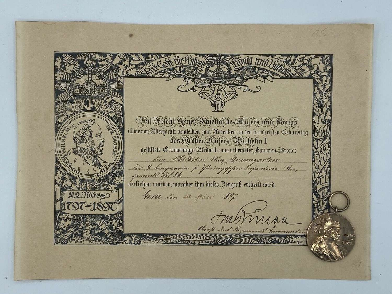 1797-1897 Kaiser Wilhelm I 100th Birthday Occasion Medal & Certificate