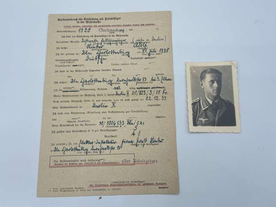 Rare WW2 German Fallschirmjäger Portrait & Volunteer Sign Up Form
