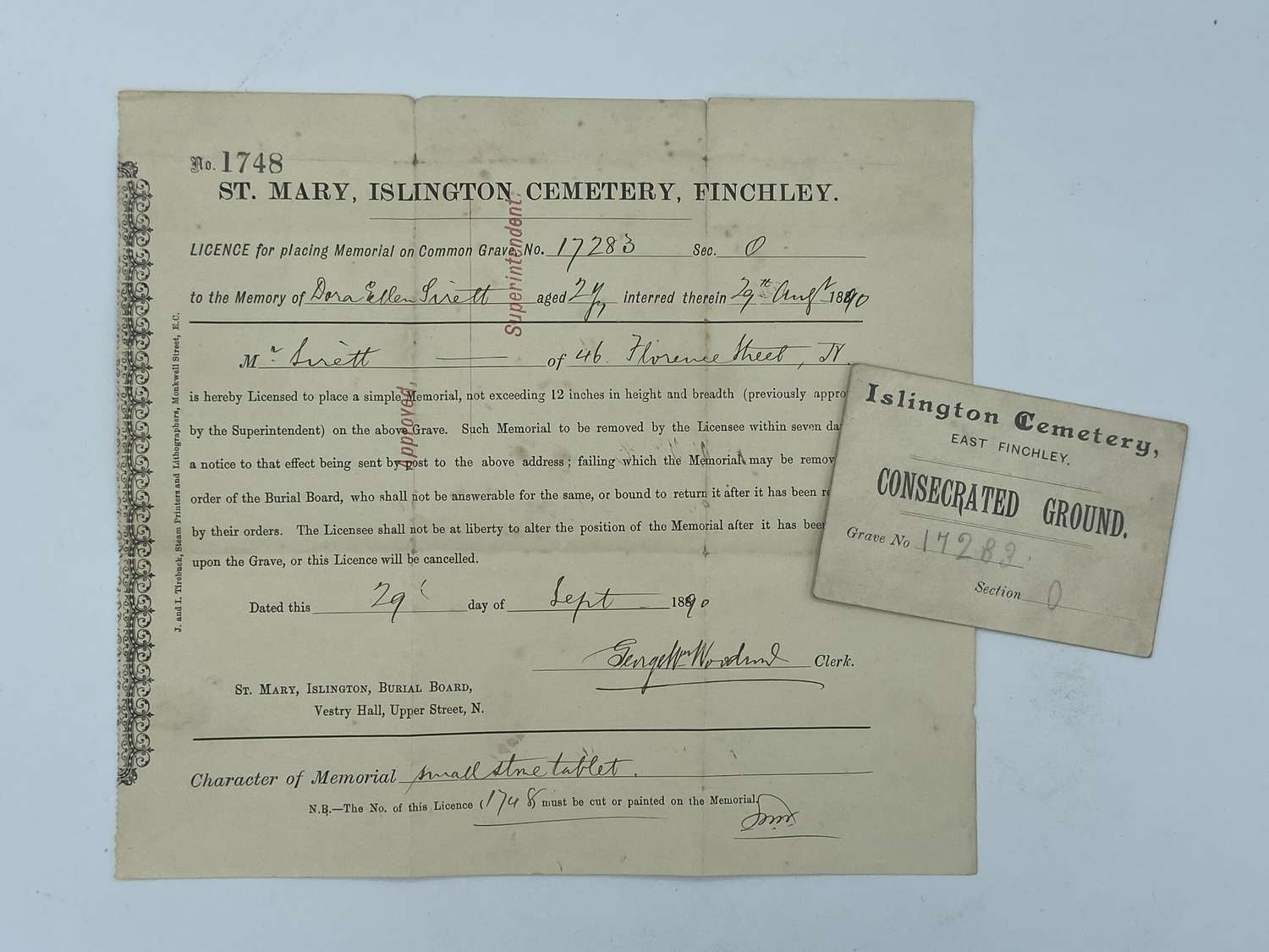 Victorian 1890 Dated St Mary Cemetery Consecrate Ground Card