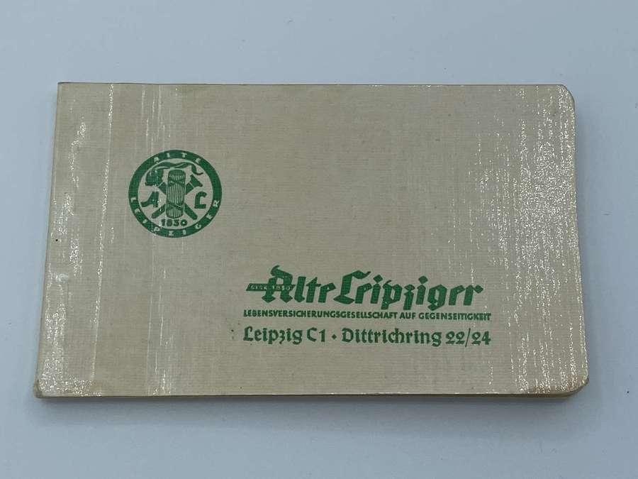 WW2 1930German Life Insurance Advertisement NoteBook Alte Leipziger AL