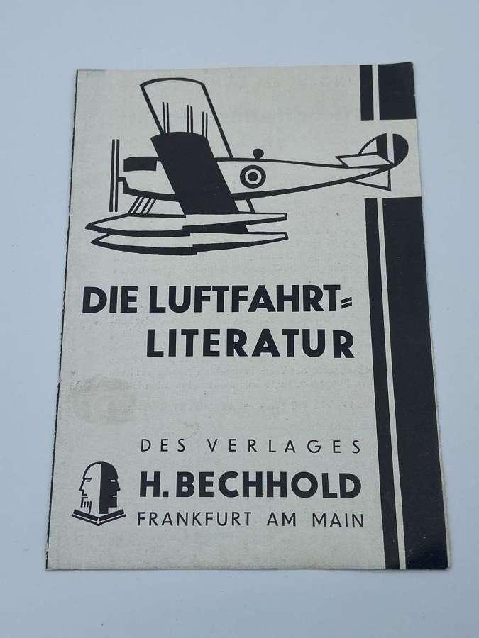 WW2 German 1929 To 1930 Luftwaffe Literature Advertising Leaflet