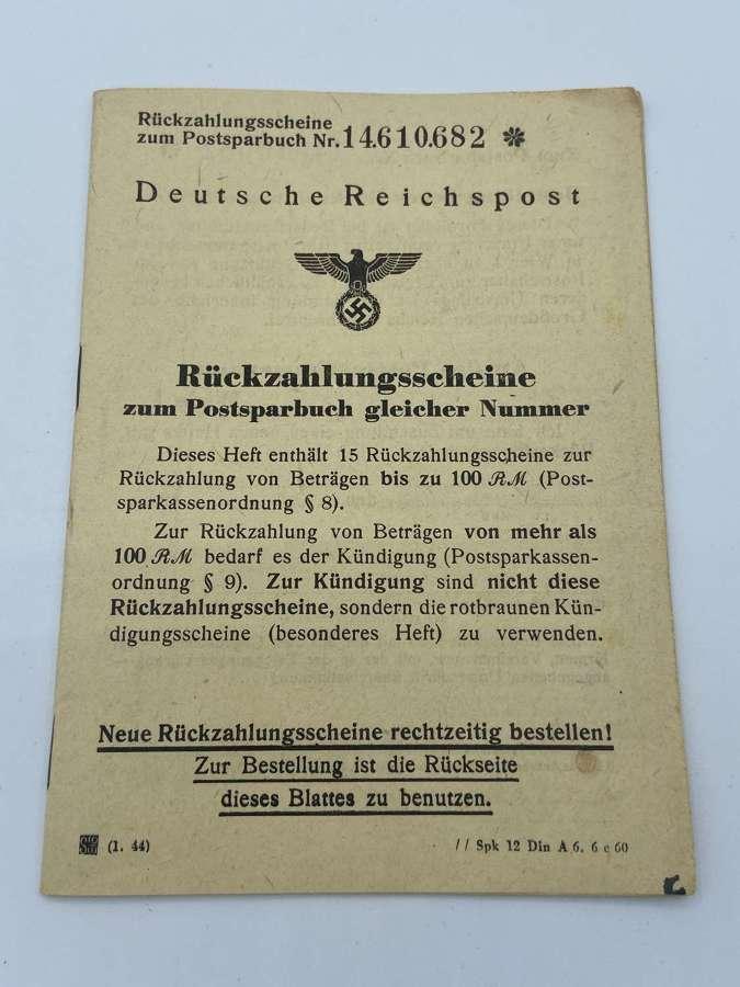 WW2 German Postal Savings Account Booket