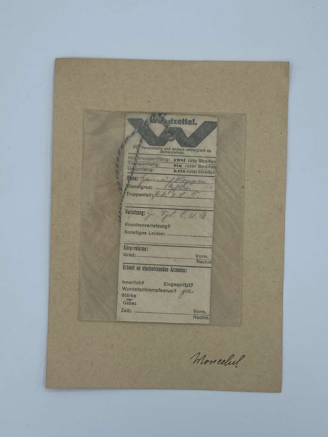 WW1 Issued German Wounded & Hospitalised Tag In Envelope Wundzettel