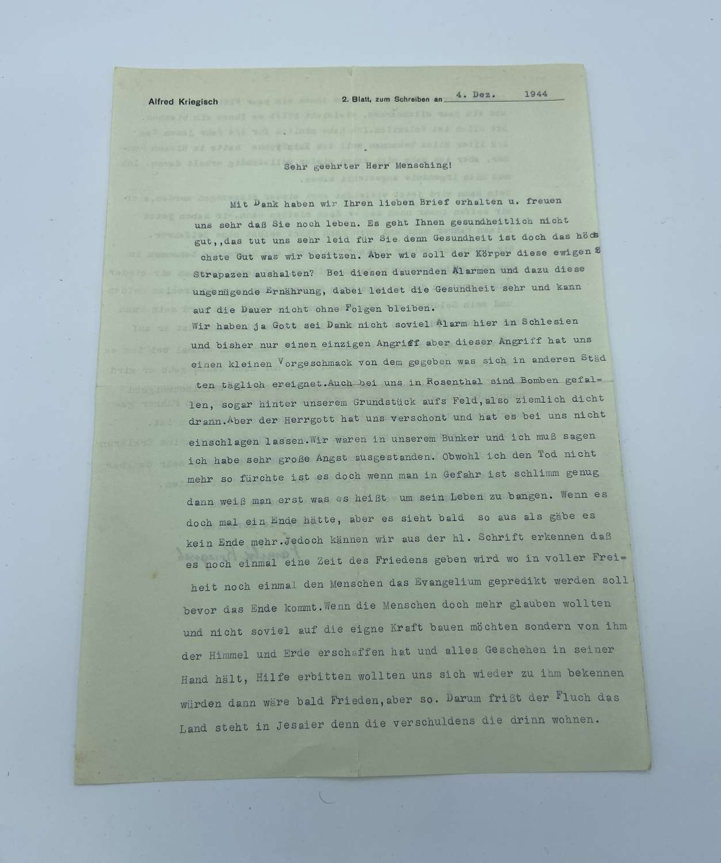 WW2 German Civilian Letter That Describes The RAF Blitz On Silesia