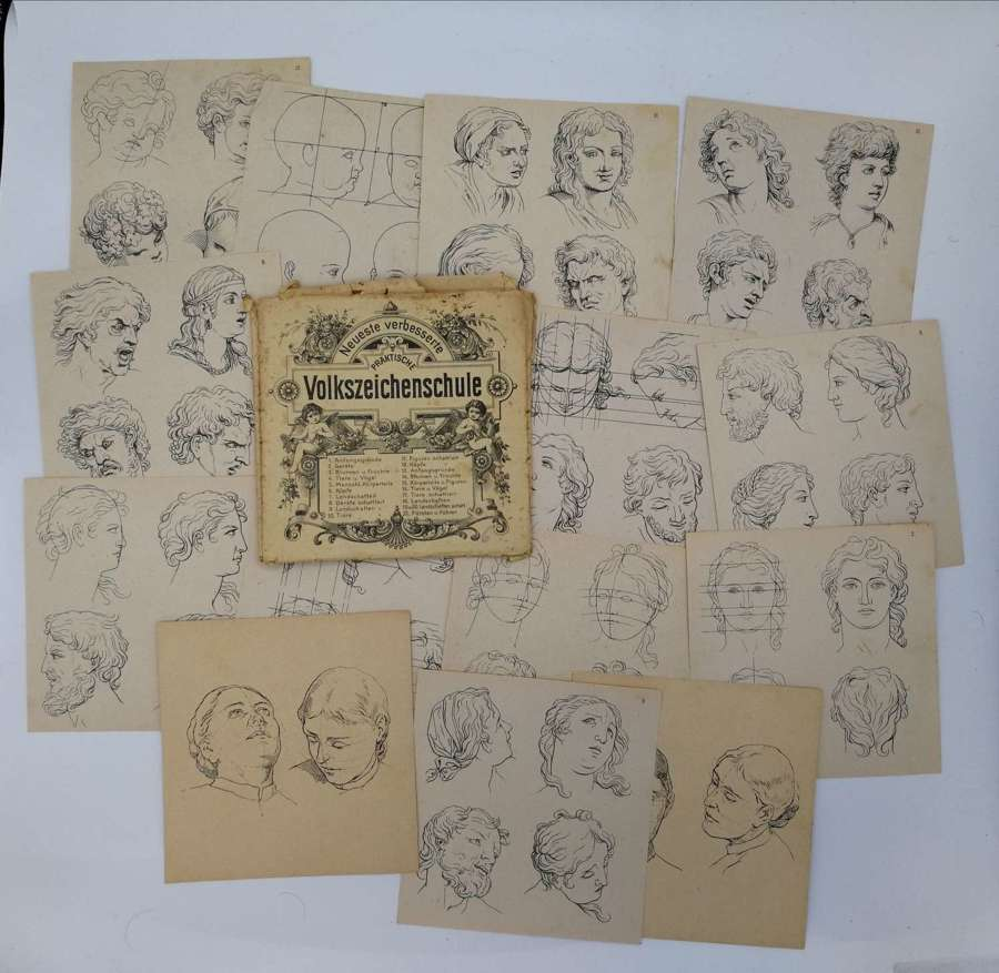 1900s German Drawing Guidens Templates From Folk Drawing School