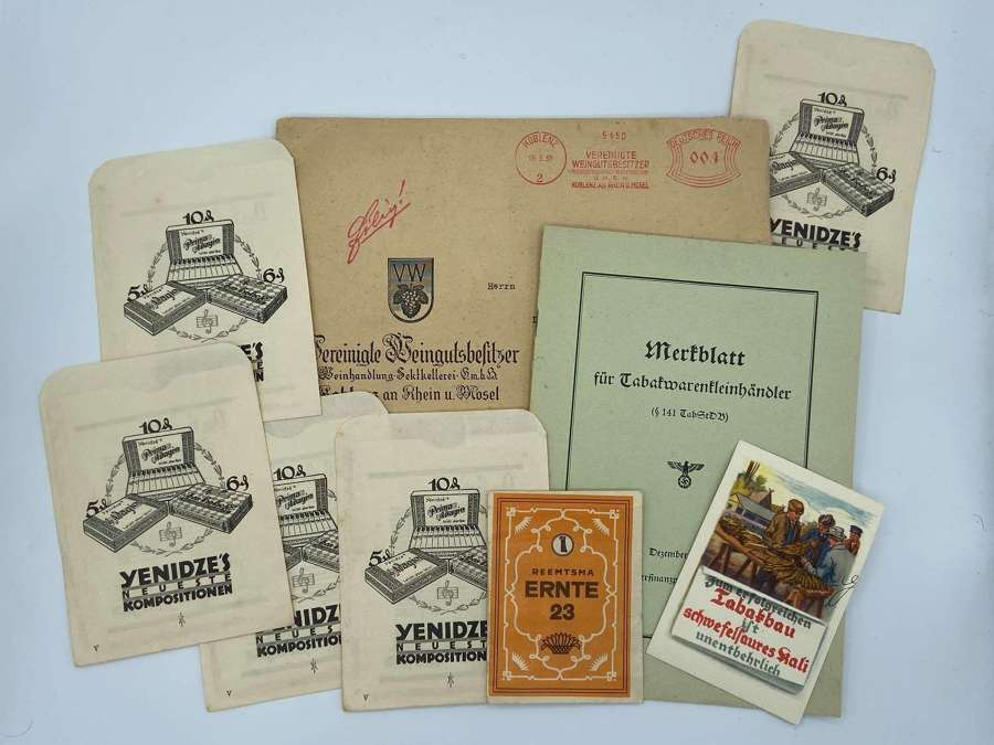 Rare WW2 German Wehrmacht Tobacco Brochure, Ration Packets, Card Etc