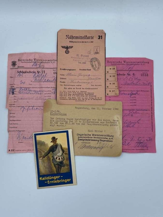 WW2 German Wheat Rations Bayerische Warenvermittlung RW Paperwork Lot