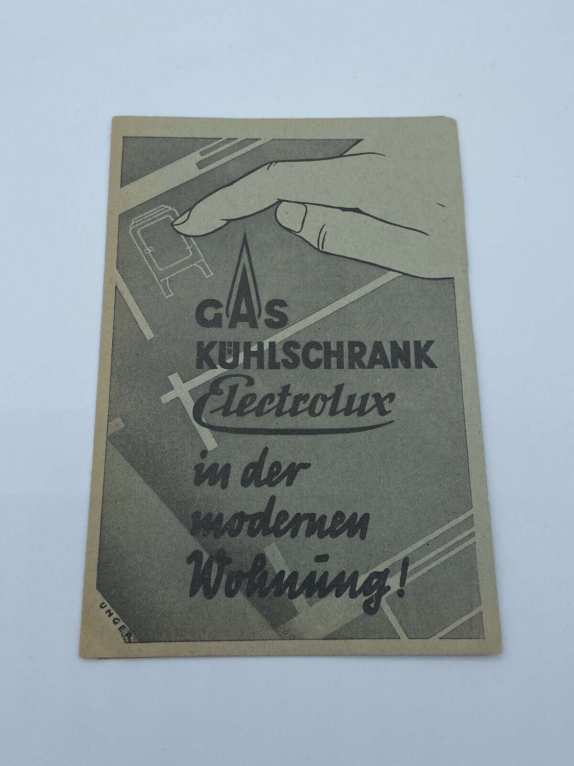 WW2 German Gas Refrigerator Electrolux 1939 Dated Leaflet Wartime Ad