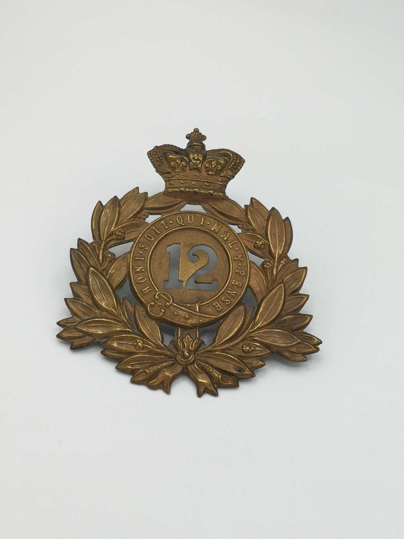 1869-1878 Victorian 12th East Suffolk Regiment Of Foot Shako Plate