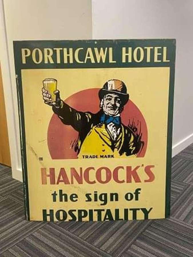 Hancocks Metal Brewery Advertisement Sign
