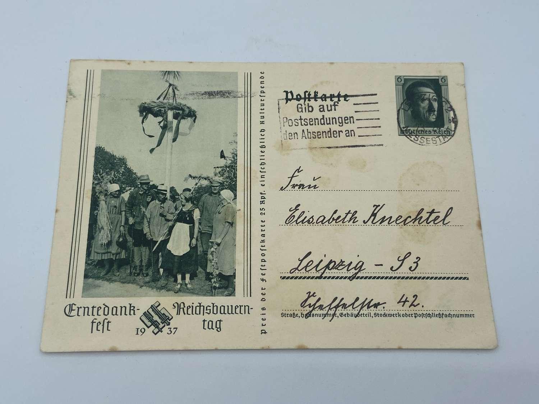 Original WW2 German 1937 Dated Commemorating Thanksgiving Post Card