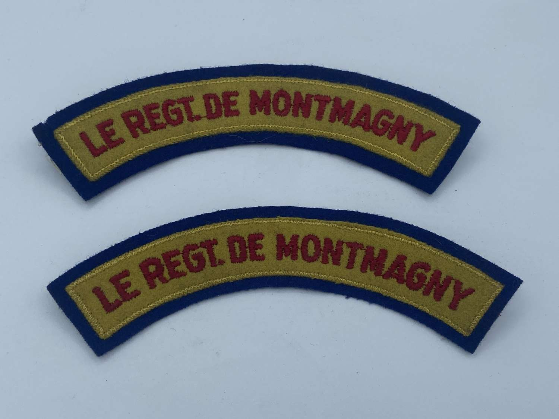2 WW2 Canadian Battledress Cloth le redg de montmagny shoulder title