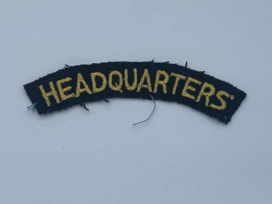 WW2 British Civil Defenece Home Guard Headquaters Cloth Shoulder Title