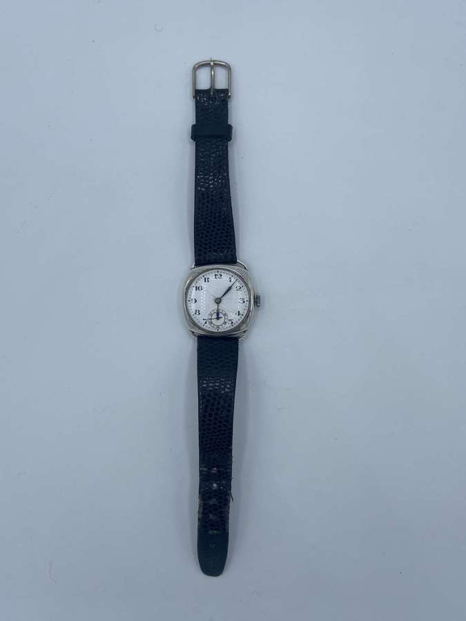 WW1 Officers 925 Silver Trench Watch Swiss Made 15 Jewels Good Working