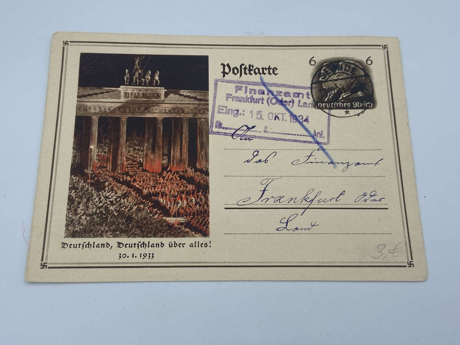 Original 1933 German Commemorative postcard, Germany Above All!