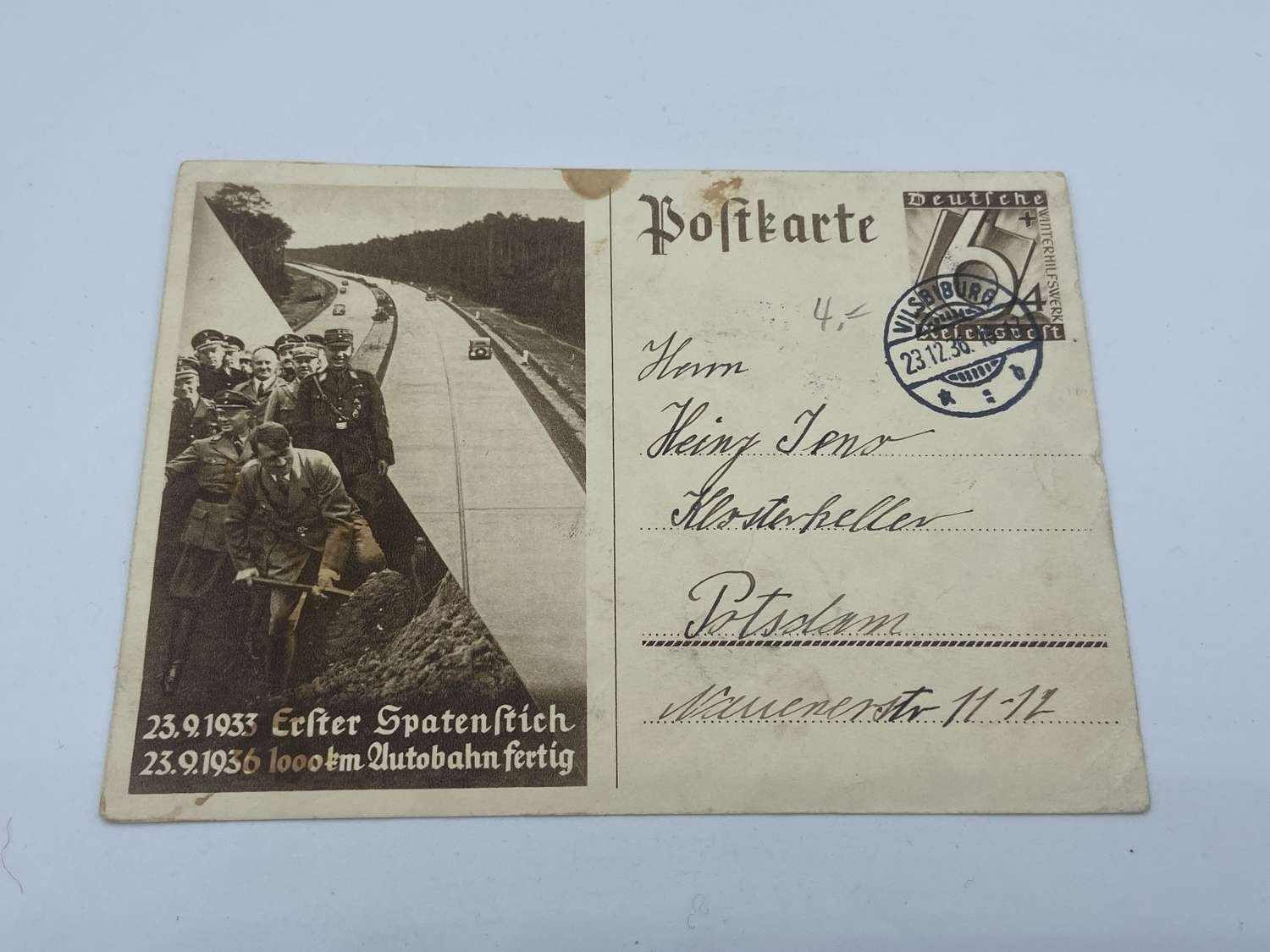 WW2 German Hitler Famously Laying First Shovel For Autobahn Postcard