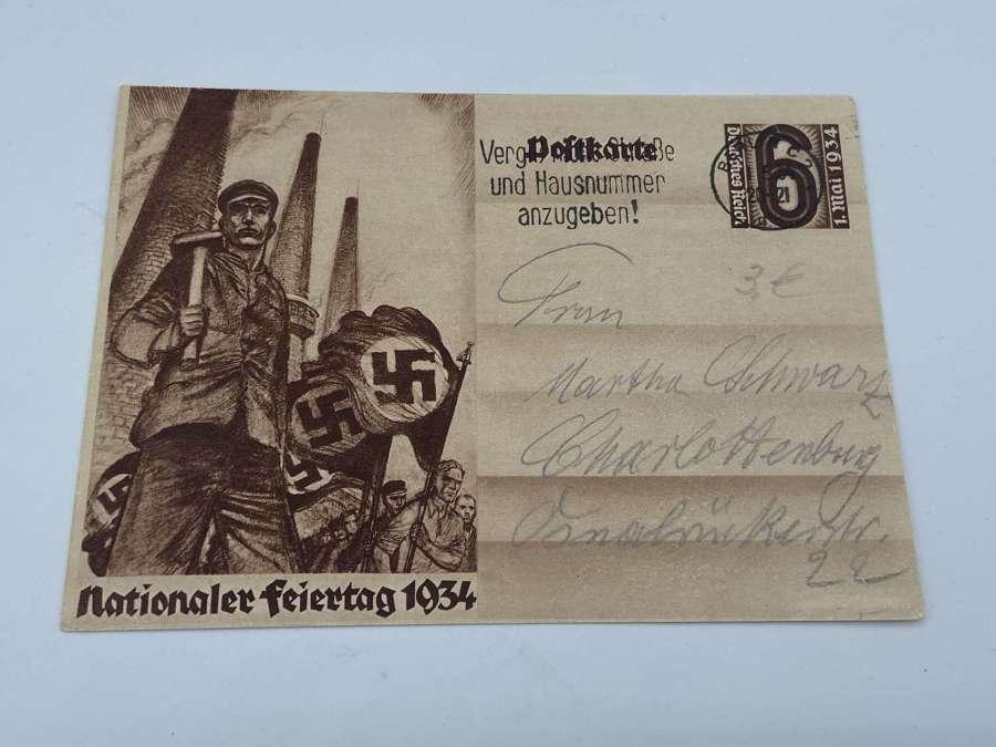 Pre WW2 German 1934 National Holiday Postcard