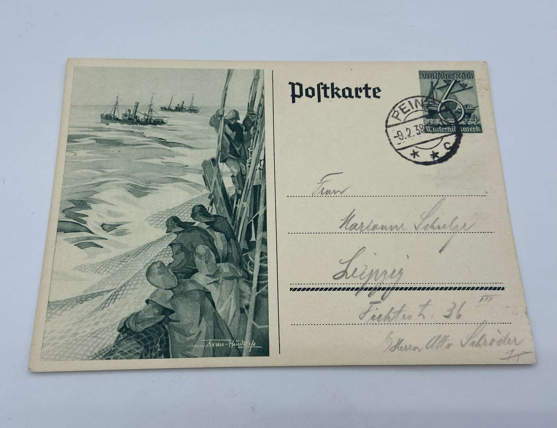 WW2 German Reich Winterhilfswerk (WHW) Promoting Fisherman Postcard