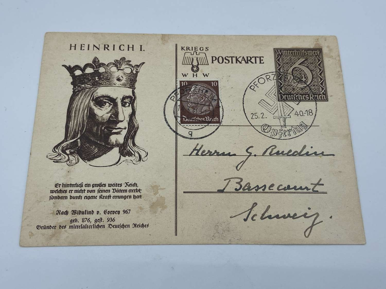 WW2 German king Heinrich I Winterhilfswerk WHW Postcard
