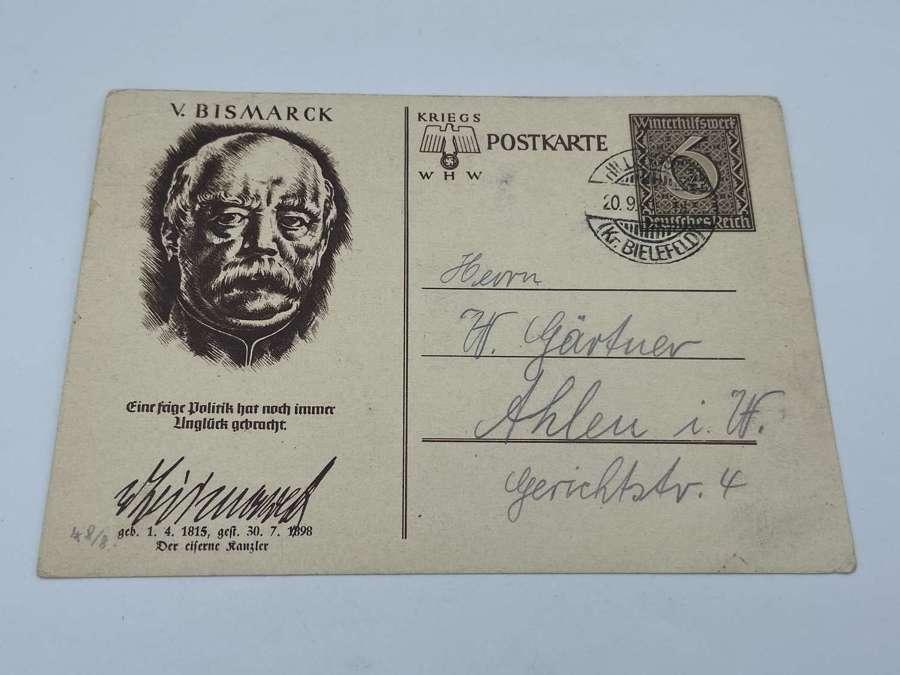 WW2 German chancellor V Bismark Winterhilfswerk WHW Postcard