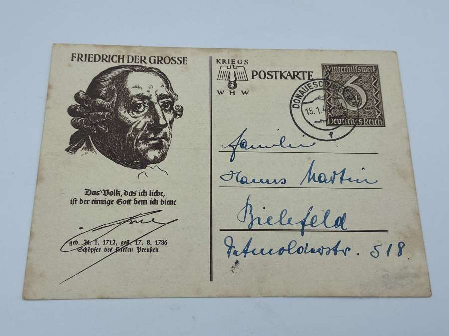 WW2 German Friedrich Der Grosse Winterhilfswerk WHW Postcard