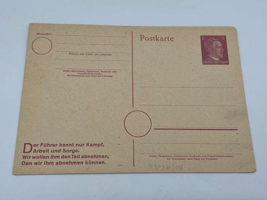 WW2 German Hitlers Speech Propaganda Postcard