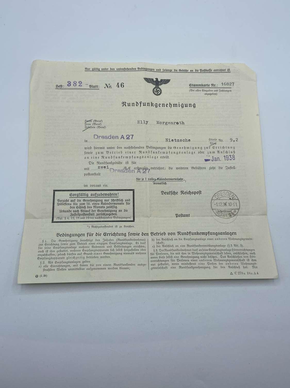 WW2 German 1938 Dresden Rundfunkgenehmigung Radio Permit