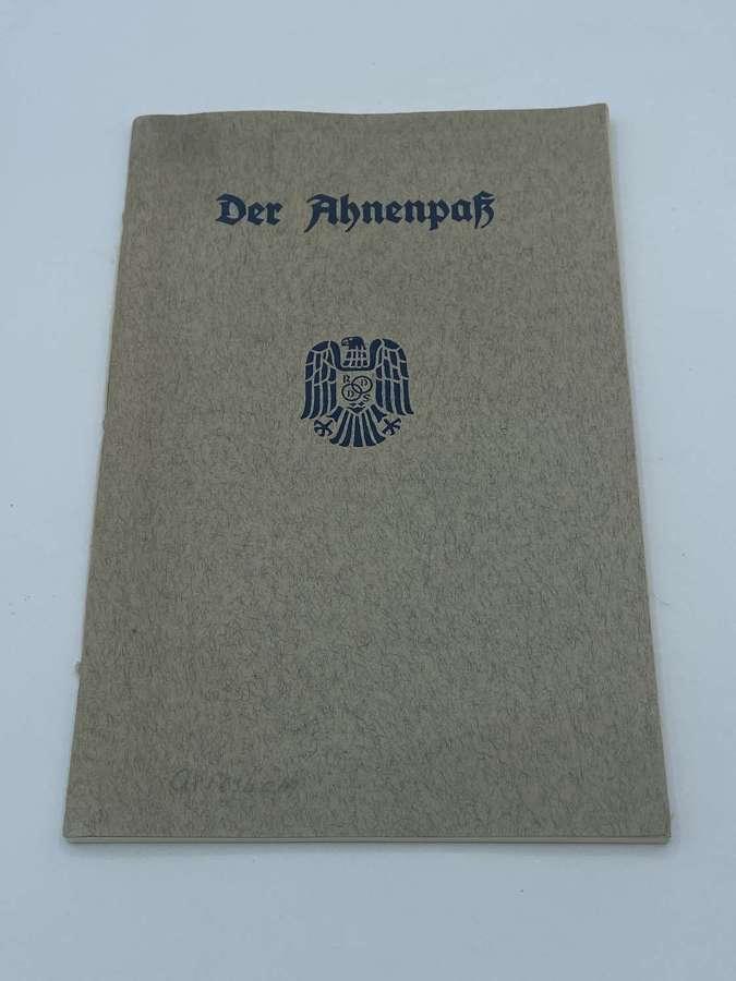 WW2 German The Ancestral Passport Unissued 1942 Issue