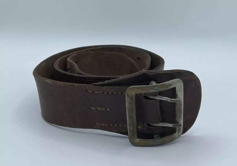 Soviet Russian USSR Officers Brown Leather Belt And Buckle