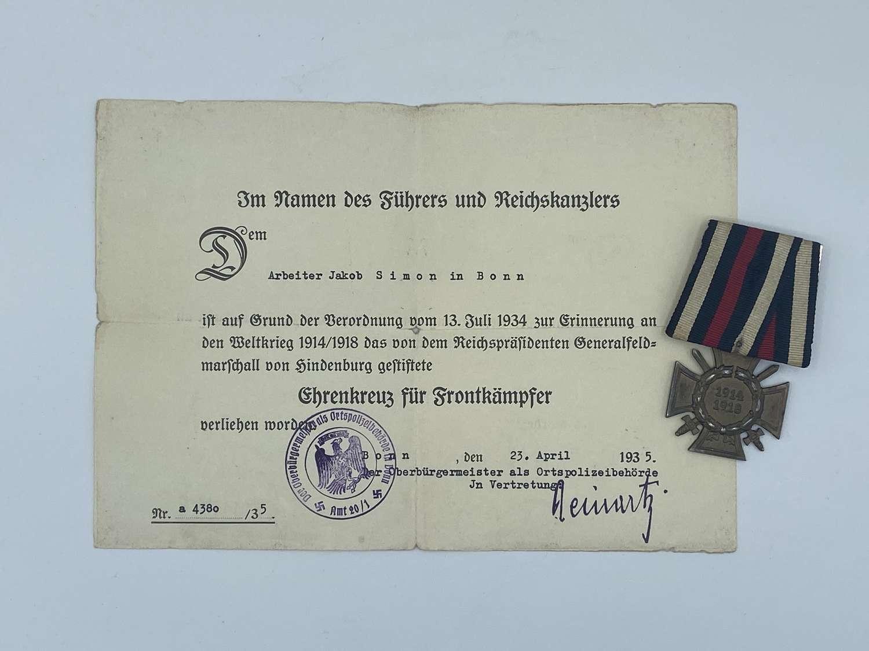 WW1 Hindenburg Medal PSL Combatants Cross Of Honour & Certificate