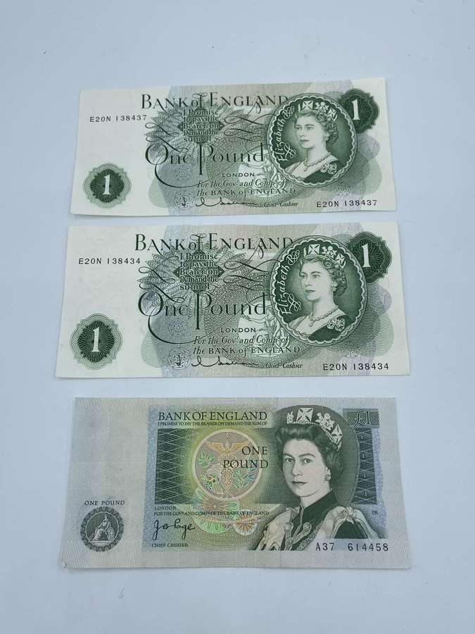 Lot Of 3x £1 Great British Pounds Banknotes Queen Elizabeth II