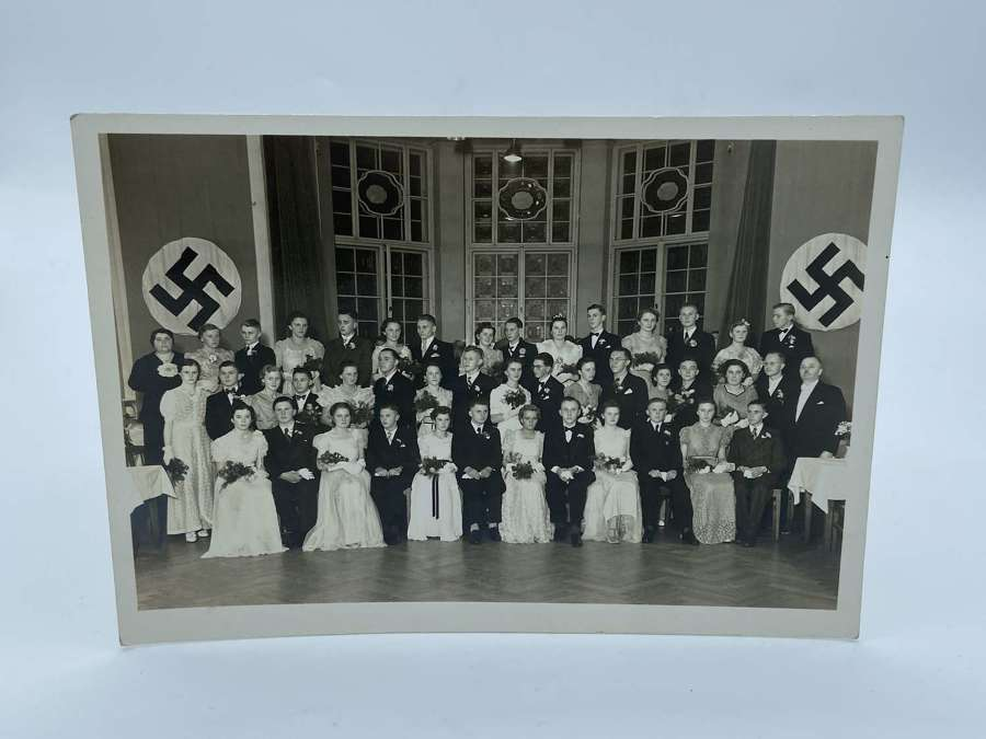 WW2 German Graduation Student Ball Group Photograph NSDAP Banner Flags