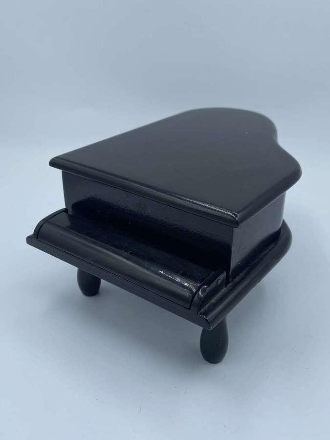 Antique Reuge Ste-Croix Switzerland Black Piano Music Jewellery Box
