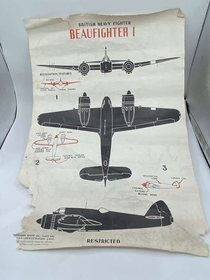 WW2Restricted 1943 UnitedStates Gov Printing Office Poster Beaufighter